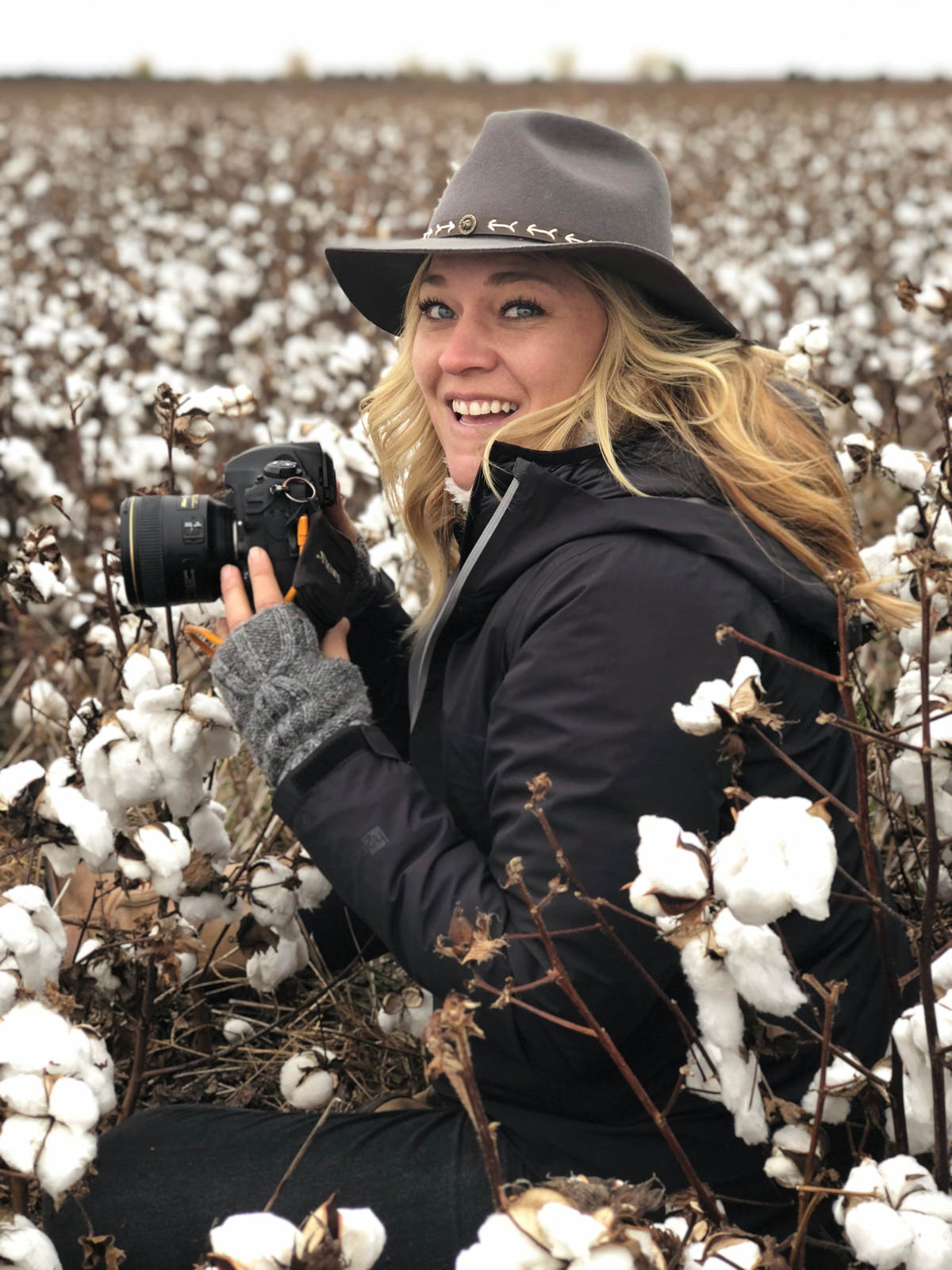 Dawn Heumann, Commercial Photographer in cotton field